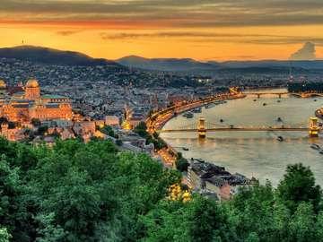 Panorama of Budapest at dusk (Hungary)