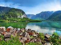 Panorama of Hallstatt with the Alps in the background (Austria)