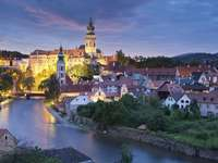 Evening panorama of Český Krumlov with the castle in the background (Czech Rep
