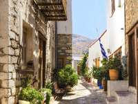Picturesque street on the island of Hydra (Greece)