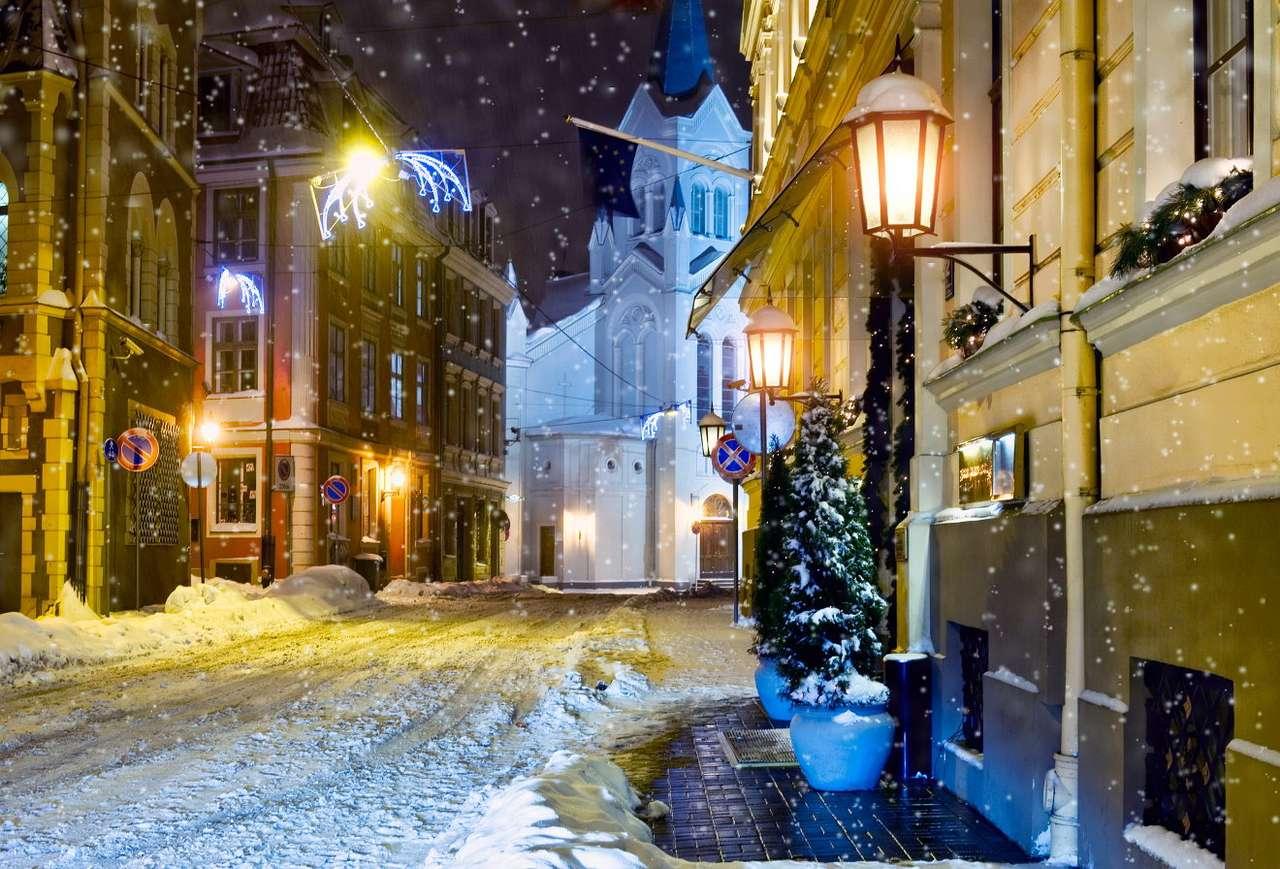 Snow-covered streets of Riga (Latvia)