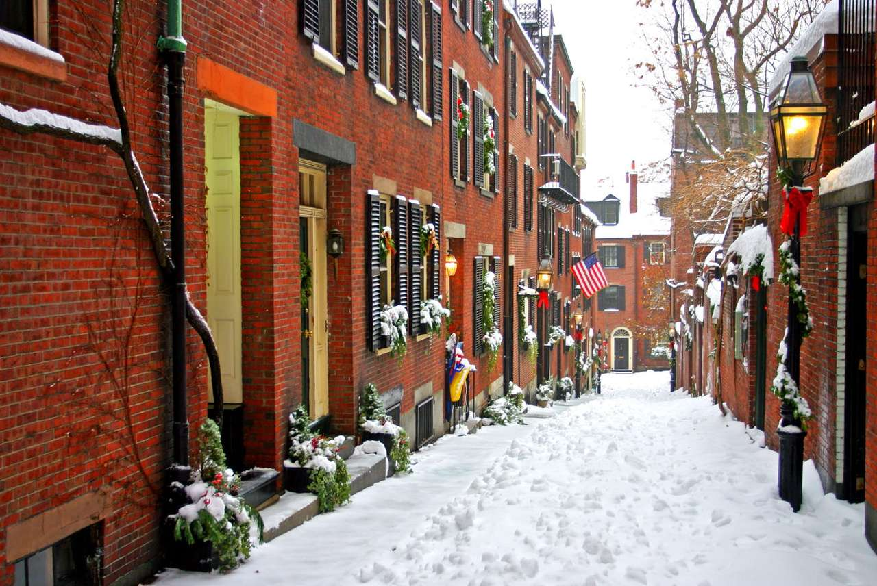 Kerstdecoratie in een straat in Boston (VS)