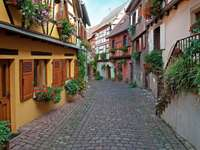 Town of Guebwiller in Alsace (France)