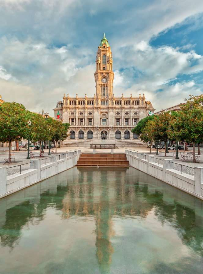 City Hall in Porto (Portugal) - Porto is a Portuguese city located in the north of the country, on the Douro River and Atlantic Ocean. The Câmara Municipal city hall with its 70-meter tower that dominates the city center is the rea (8×7)