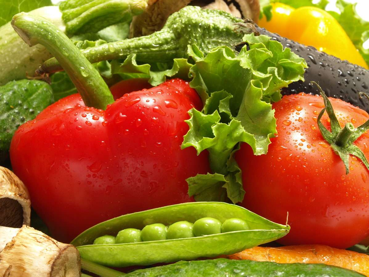Green and red vegetables