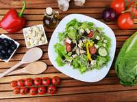 Salad with feta cheese and olives