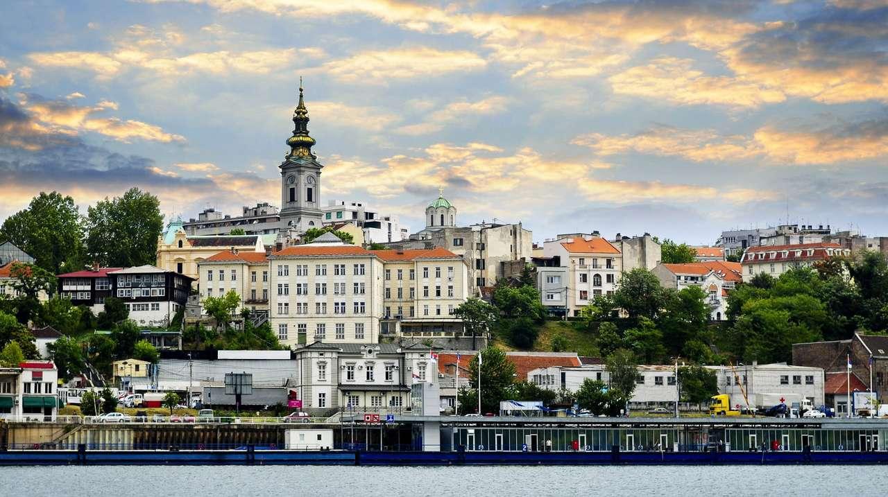 Vedere a Belgradului de pe malul Dunării (Serbia) puzzle