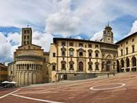 The market in the city of Arezzo (Italy)