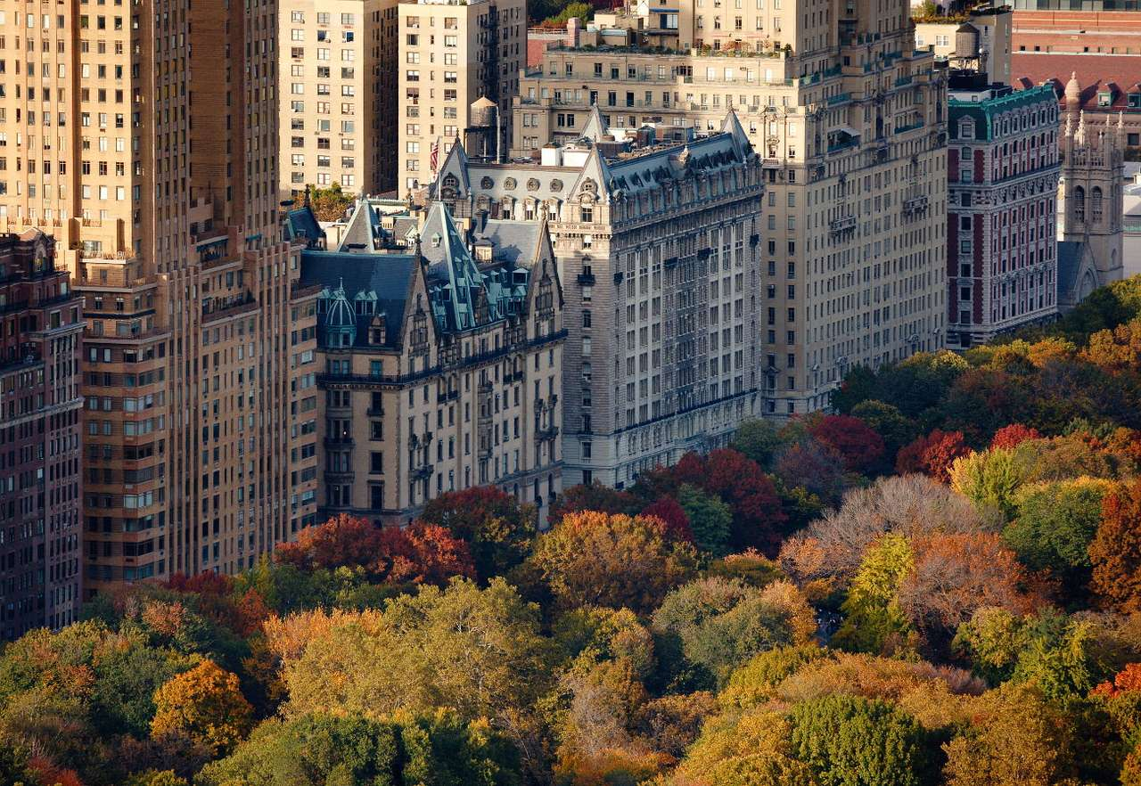 Autumn Central Park in New York (USA) - Central Park is located in the heart of New York's Island of Manhattan. This borough is densely populated, there are numerous office buildings, the most expensive apartments and luxurious shopping cen (10×7)