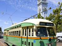 PCC historic tram on the streets of San Francisco (USA)