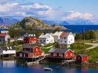 Vissersdorp op de Lofoten-archipel