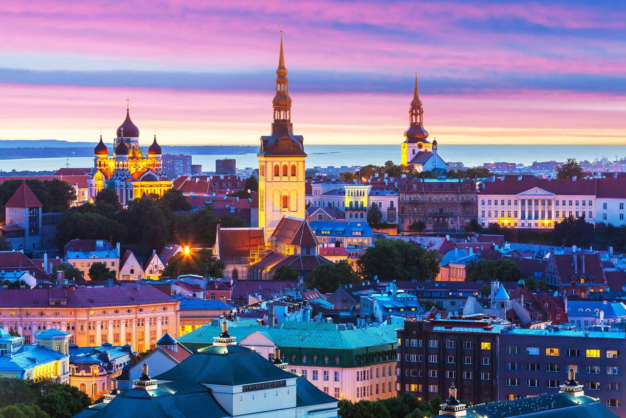 Evening panorama of Tallinn (Estonia) - Tallinn is the largest city and the capital of Estonia. It has a charming old town, surrounded by medieval city walls. The city has preserved its Hanseatic character, thanks to its well-maintained mer (9×7)