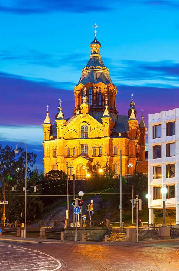 Cathedral of the Dormition of Our Lady in Helsinki (Finland) - Uspenski Cathedral is located in the capital of Finland. It was built in 1868 in accordance with the design by Alexey Gornostayev. The temple that has a brick-red facade and distinctive domes is the l (8×8)