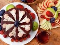 Chocoladetaart met fruit