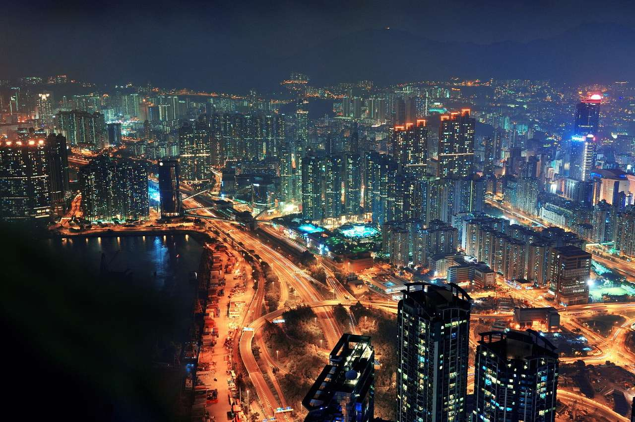 Night panorama of Hong Kong (China) - Hong Kong is a special administrative region of China. This great port city belonged to Great Britain for over 150 years and at the end of the 20th century it returned to China as an autonomous entity (8×5)