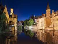Night view of the canal in Bruges (Belgium)