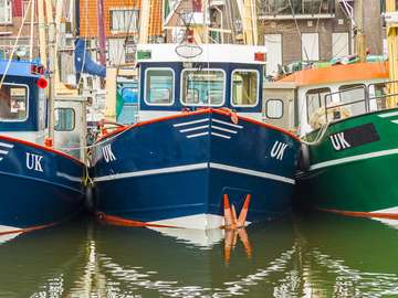 Fishing boats in the port of Urk (the Netherlands)