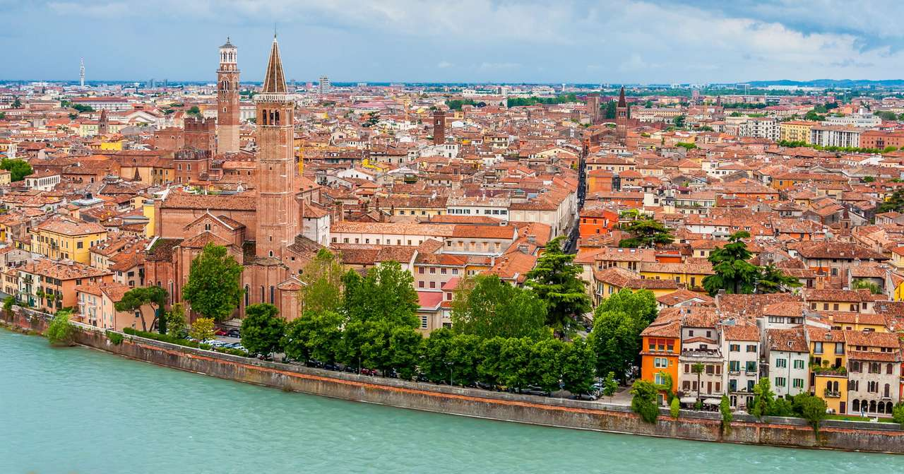 "Panorama of Verona (Italy) - Verona is located in the northern part of Italy, midway between two other famous cities of Venice and Milan. The city was made famous by William Shakespeare in his world famous love tragedy titled ""Ro (11×5)"