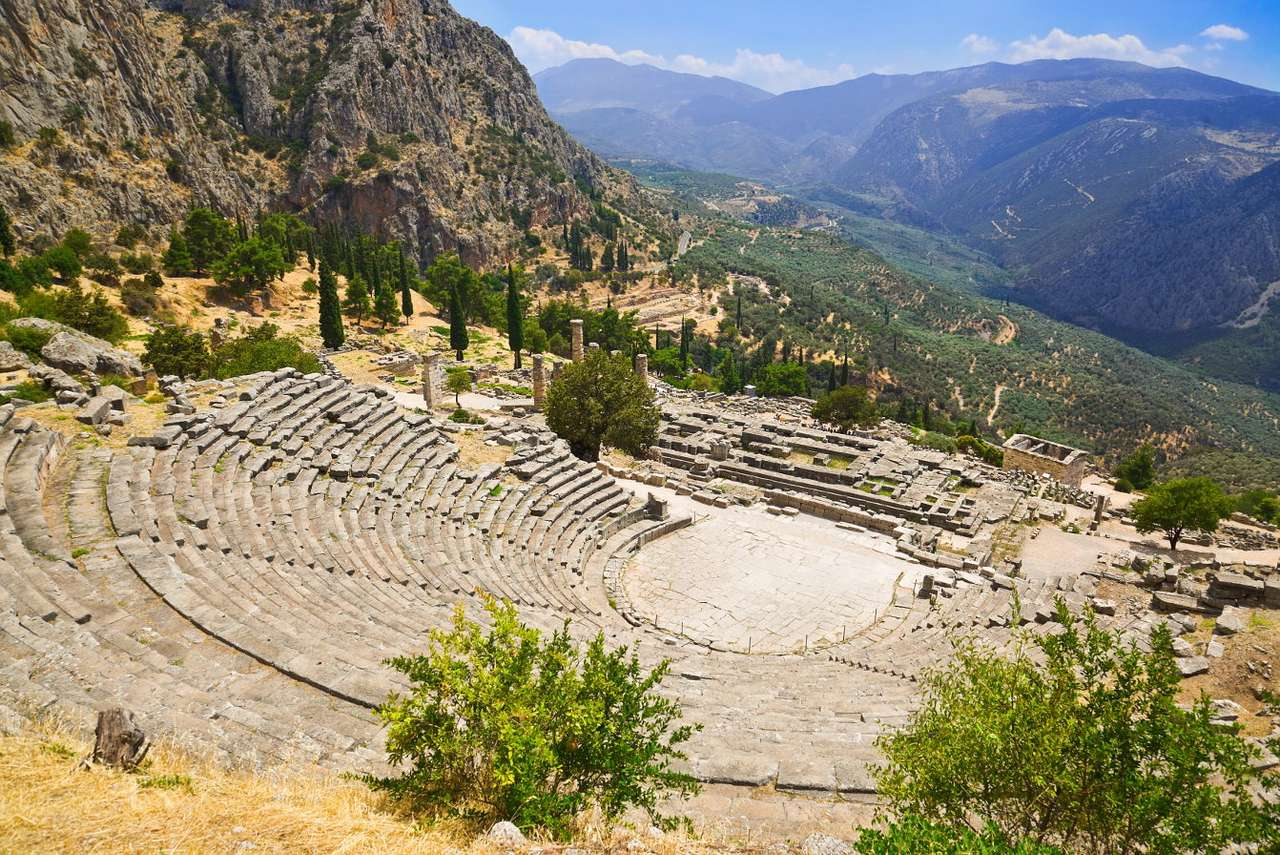 The ancient theater at Delphi (Greece) - Delphi is an archaic Greek city and a center of worship. It is focused around the temple of Apollo and the oracle. Today there is an archaeological site in which we can admire the precious remains of (11×8)