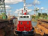 Boat  in the dock of Gdańsk Shipyard