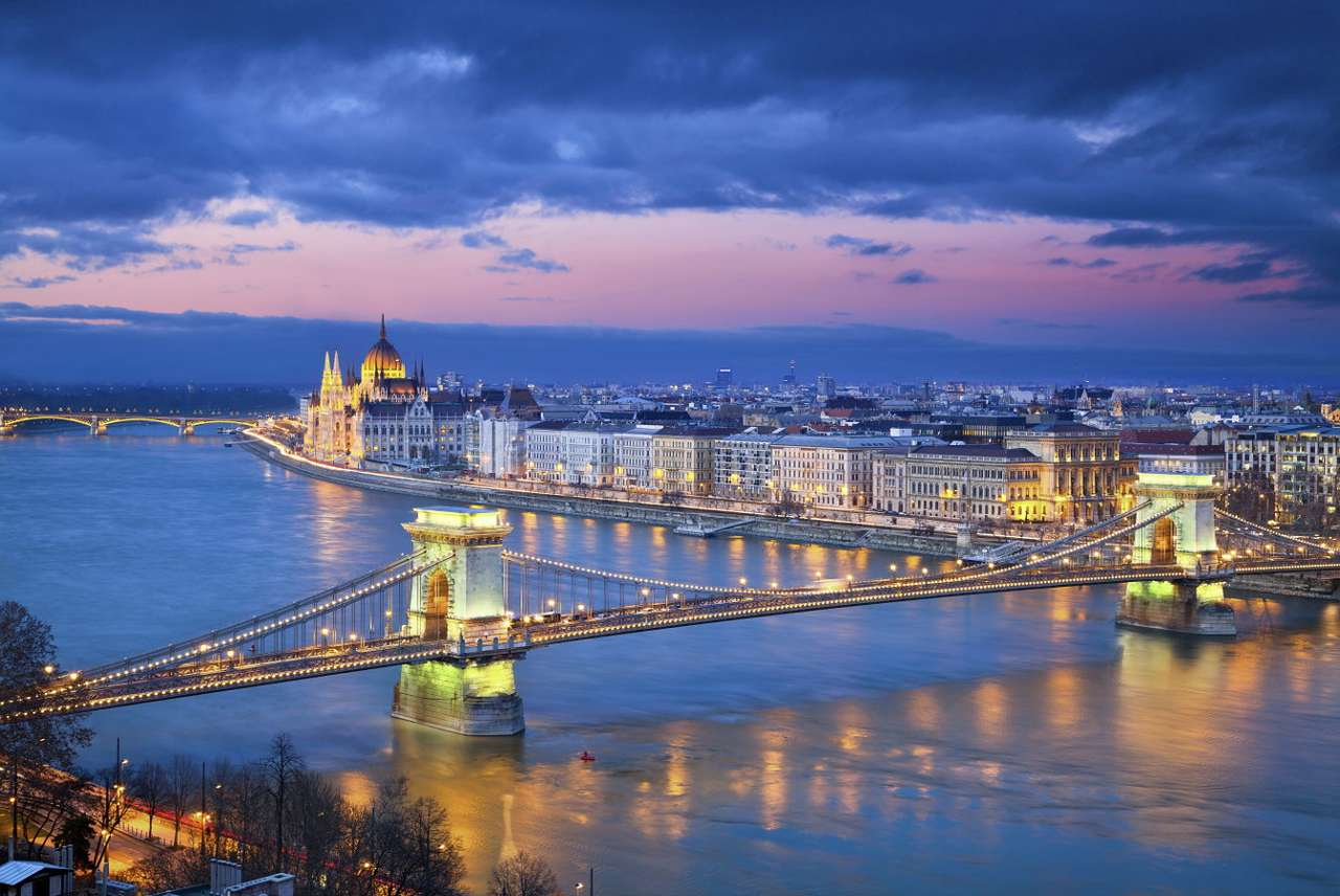 Chain Bridge in Budapest (Hungary) - The capital of Hungary – Budapest – is a big city located in the north of the country, on the Danube River. The banks of the river are spanned by as many as ten bridges. The most recognizable ones (10×7)