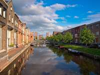 Traditional buildings along a canal in Amersfoort (Netherlands)