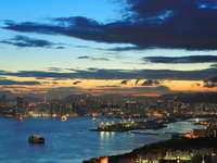 Evening panorama of Hong Kong (China)