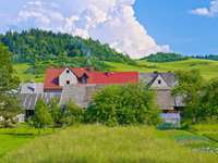 Rural houses near the Polish-Slovak border