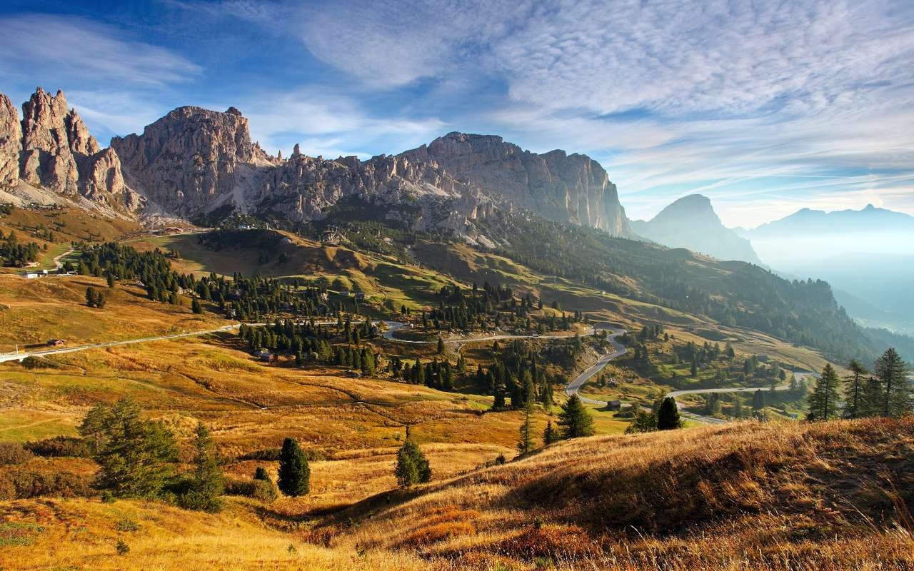Sunrise in the Dolomites (Italy) - The Dolomites are one of the mountain ranges in the Alps. They are located in north-eastern Italy. Steep slopes, high cliffs and vertical walls are characteristic for the Dolomites. This mountain rang (9×6)
