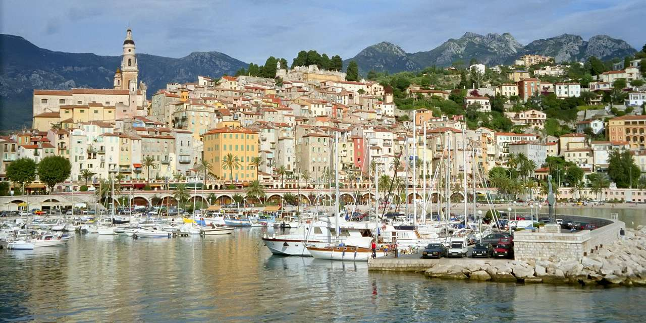 Panorama of Menton (France) - The town of Menton is located in the French department of Alpes-Maritimes. The town is dominated by the baroque bell tower of the church of St. Archangel Michael, built in the 17th century by Honorius (12×6)