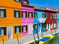 Colorful buildings in Burano (Italy)