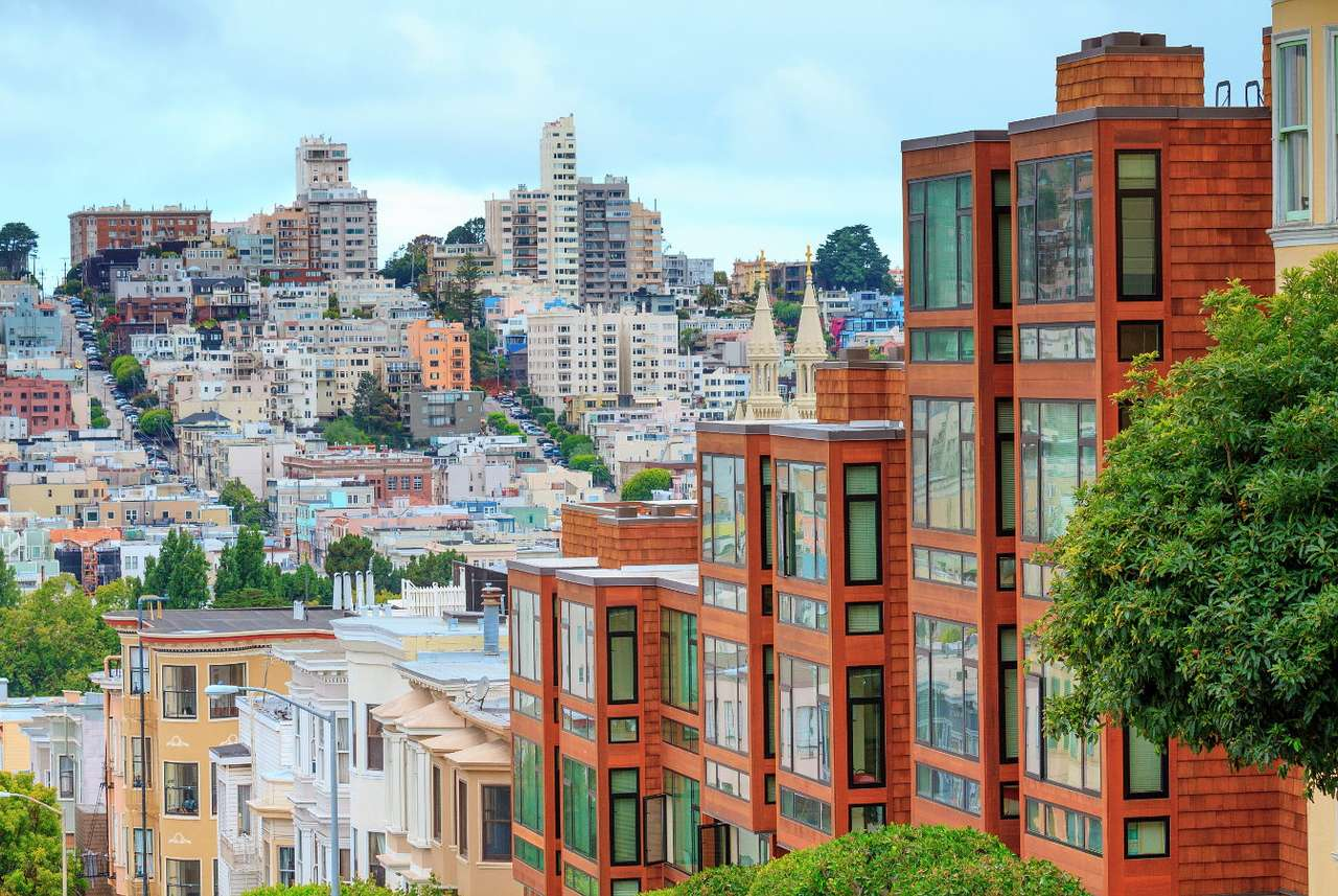 Dwellings in San Francisco (USA) - San Francisco is a big city in the US state of California, whose patron is Saint Francis. This American metropolis is mainly associated with the red Golden Gate Bridge, the prison on the nearby island (12×6)