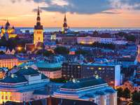 Evening panorama of Tallinn (Estonia)