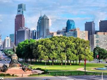 Benjamin Franklin Parkway in Philadelphia (USA)