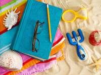Livro e óculos de sol em uma toalha de praia
