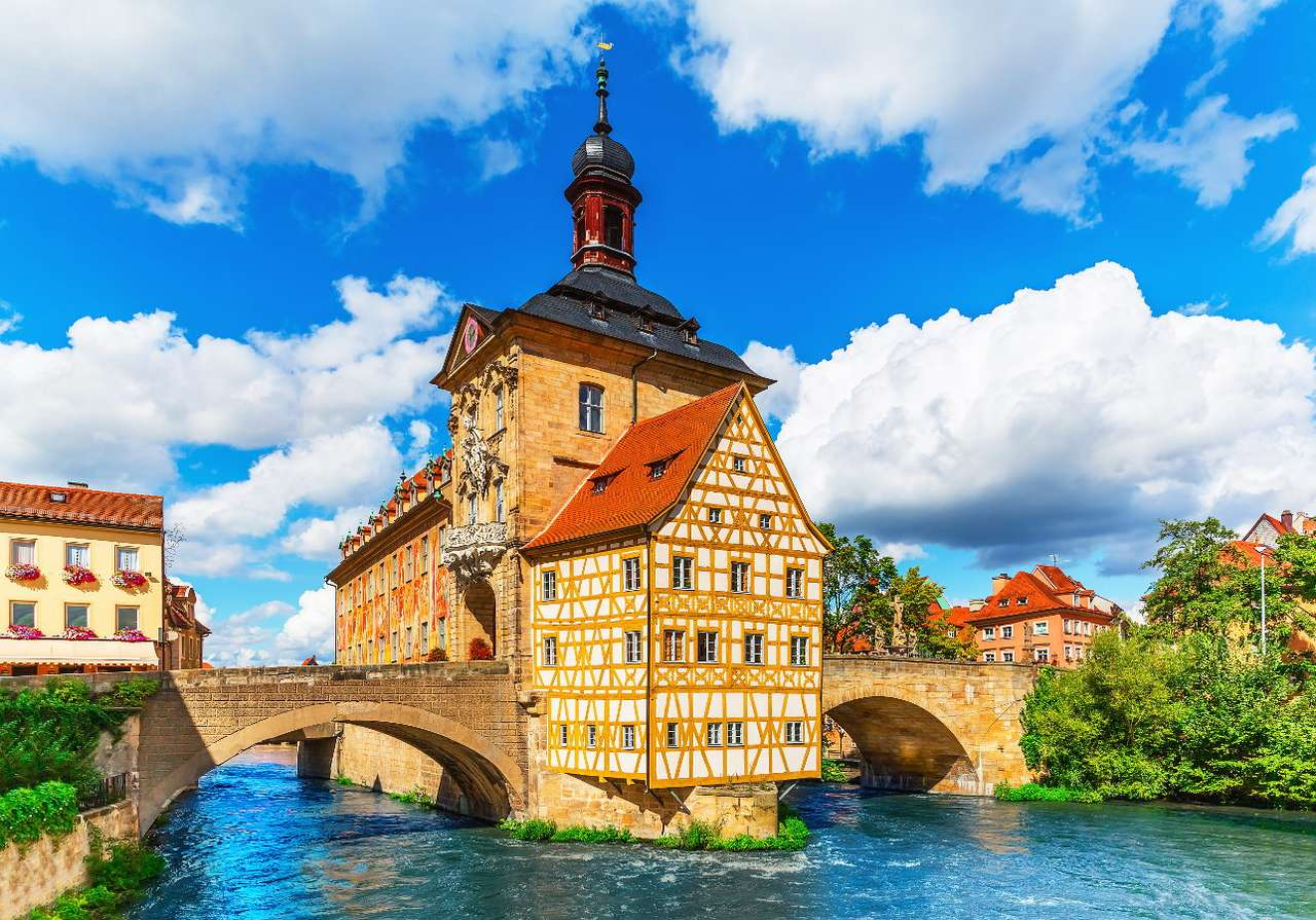 Old city Hall in Bamberg (Germany) - Bamberg is a German city located in Bavaria on the river Regnitz. The city boasts the 14th-century Altes Rathaus, i.e. the Old City Hall, built on an artificial island in the middle of the river. This (9×6)