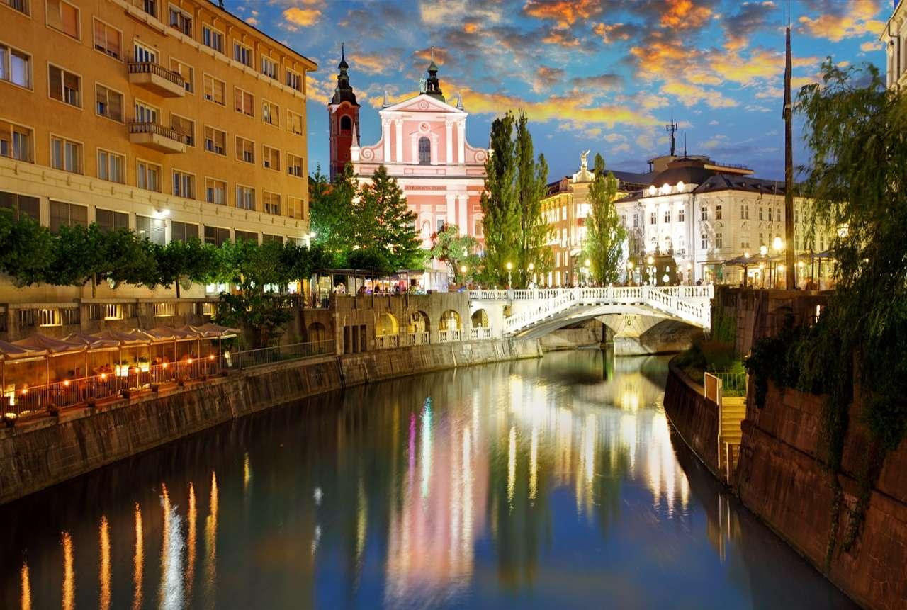 The Ljubljanica River in the center of Ljubljana (Slovenia)