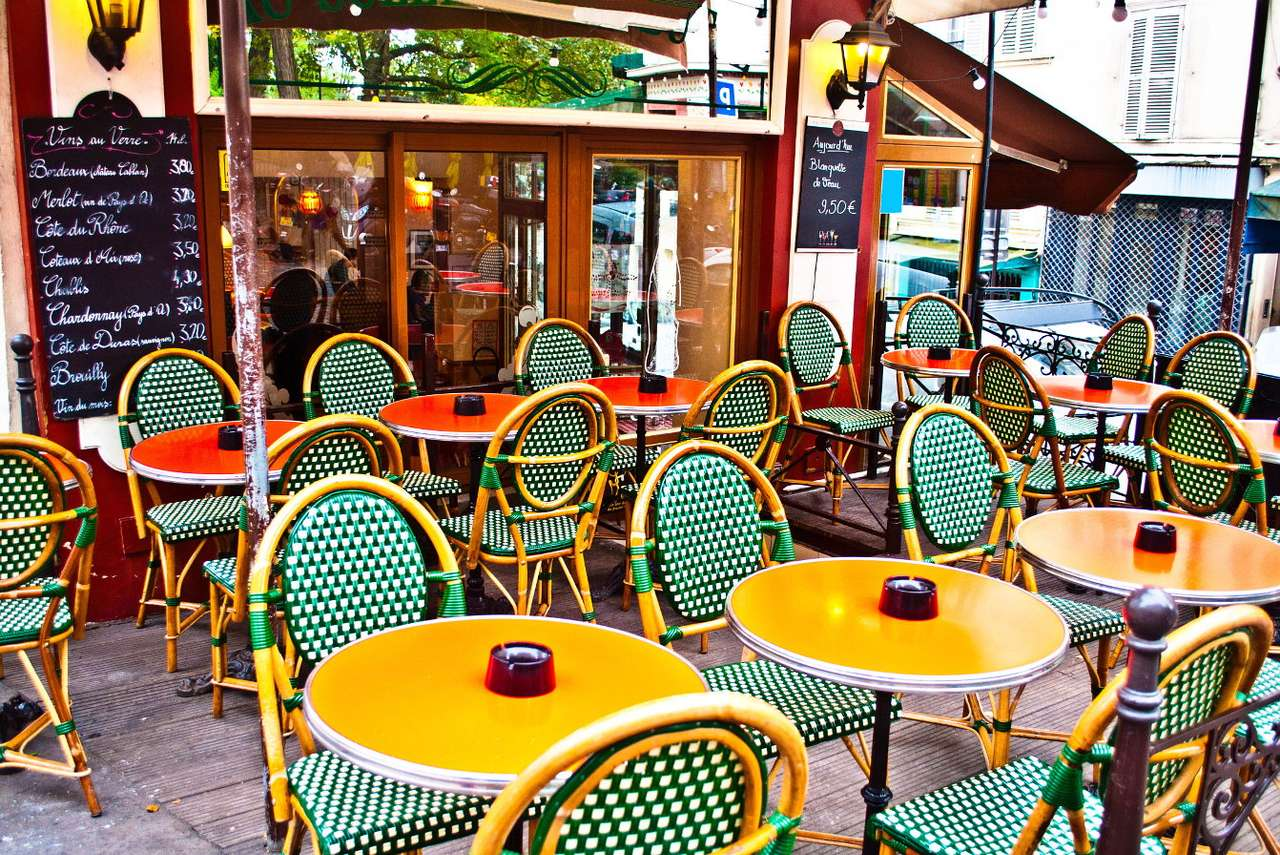 Typical Parisian eatery (France) - The French word brasserie refers to a small eatery, café or brewery. In such a place you can sit at a table or at the bar, enjoy a delicious, simple meal and drink coffee or beer. During the summer, (11×8)