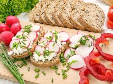 White cheese and radish sandwich