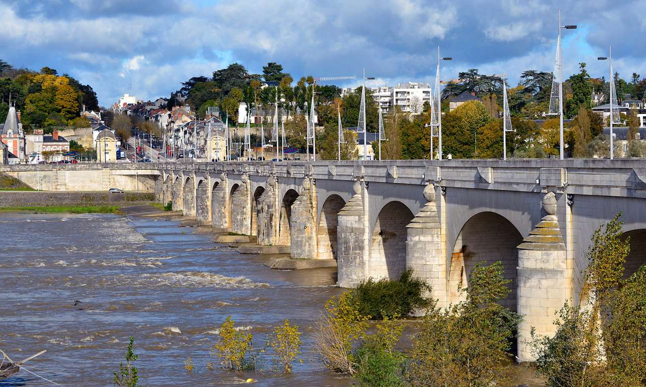 Stone bridge in Tours (France) - Tours is a French city on the river Loire in the department of Indre-et-Loire. Tours has been the center of St. Martin's cult since the fifth century. The Gothic cathedral of Saint Gatien is its lan (10×6)