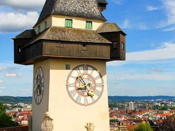 Clock tower in Graz (Austria)