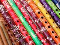 Флейти на пазара в Перу
