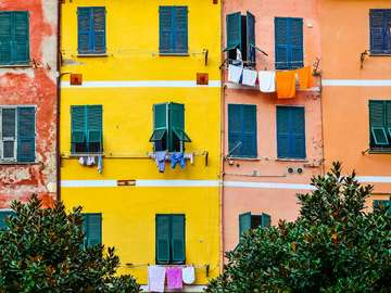Colorful facades of houses (Italy)