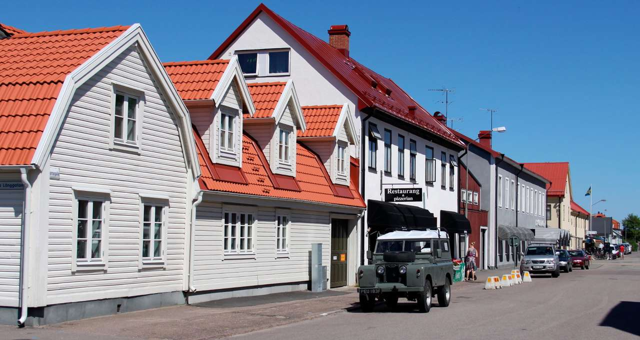 Street in Borgholm (Sweden) - Borgholm is a small Swedish town located on Oland, the temperate island inhabited by many species of animals. This place is a tourist destination for a lot of Swedes. Borgholm retains old-fashioned ch (12×3)
