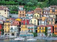 Colorful houses in Varenna on Lake Como (Italy)