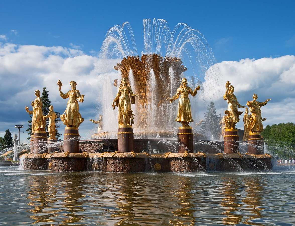 "The ""Friendship of Nations"" fountain (Russia) - The ""Friendship of Nations"" fountain is a symbol of the Moscow Exhibition of Achievements of National Economy of the USSR, which had been opened in August 1939, and after the war resumed operation in (8×5)"
