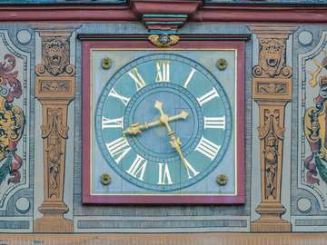 Clock in the town hall in Tübingen (Germany)
