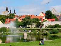 Park in the center of Visby (Sweden)