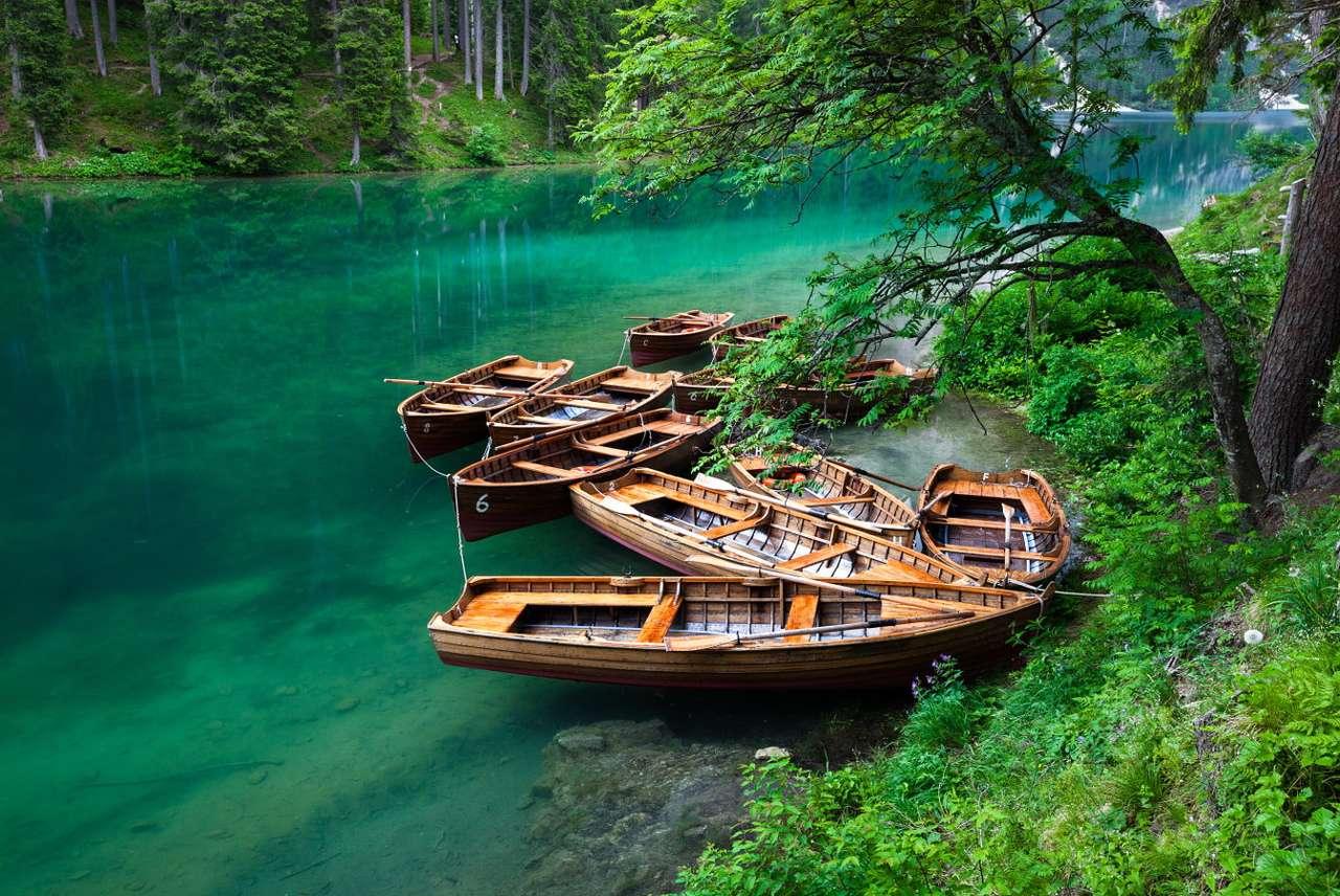 Boote auf dem Braiessee (Italien) puzzle