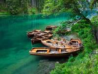Boats on Lake Braies (Italy)